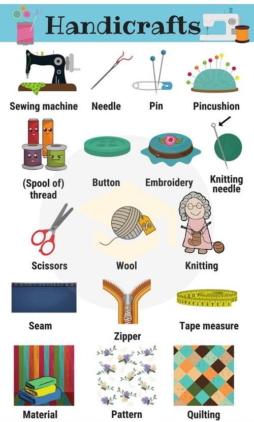 Từ vựng tiếng Anh về các vật dụng dùng làm đồ thủ công
