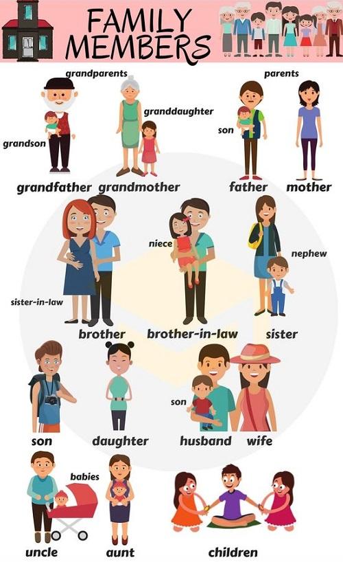 Cách gọi các thành viên trong gia đình bằng tiếng Anh