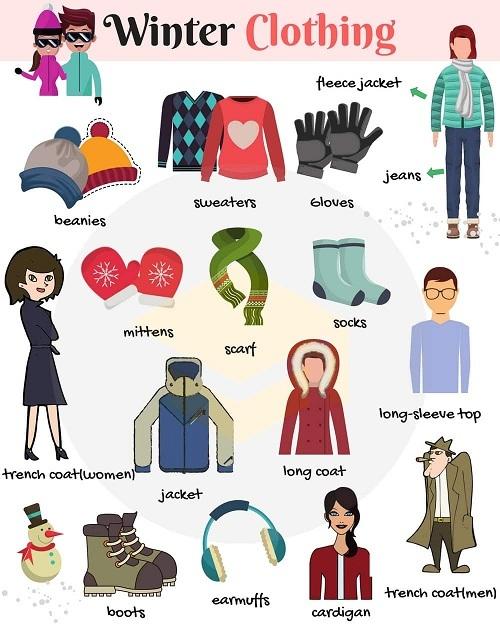 Từ vựng chỉ trang phục mùa đông trong tiếng Anh
