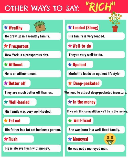 14 cách nói thay thế rich trong tiếng Anh